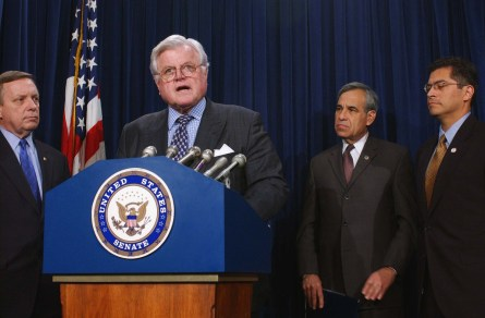 2/12/03.ESTRADA NOMINATION--Sen. Richard J. Durbin, D-Ill., Sen. Edward M. Kennedy, D-Mass., Rep. Charlie Gonzalez, D-Texas, and Rep. Xavier Becerra, D-Calif., during a news conference opposing the approval of Miguel Estrada to be a judge on the D.C. Circuit Court of Appeals..CONGRESSIONAL QUARTERLY PHOTO BY SCOTT J. FERRELL