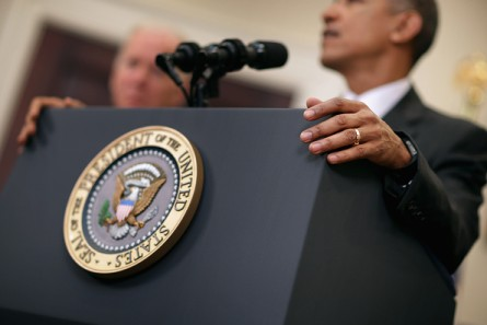 President Obama makes a statement about his plan to close the detention camp at the Guantanamo Bay in Roosevelt Room at the White House on Tuesday. (Photo by Chip Somodevilla/Getty Images)
