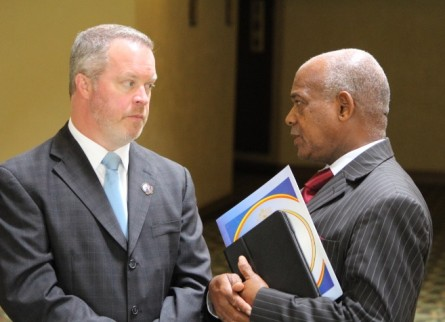 Driehaus speaking with Swaziland Minister of Education Dr. Phineas Magagula. (Courtesy Steve Driehaus)