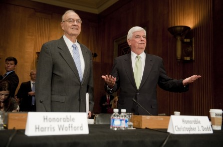 Former Senators Chris Dodd, D-Conn., right, Harris Wofford, D-Pa., prepare to testify before a Senate Foreign Relations subcommittee hearing in Dirksen Building entitled