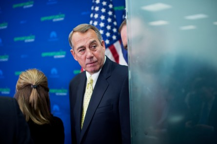 Boehner seems pleased he's worked out a deal with Pelosi on the 'doc fix.' (Tom Williams/CQ Roll Call)