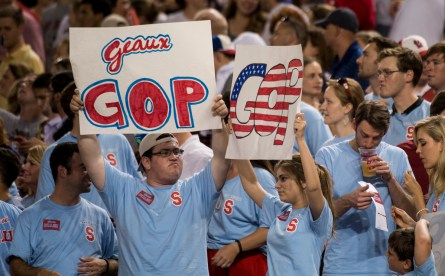 Staffer fans cheer for their preferred party at the Roll Call Congressional Baseball Game. (Bill Clark/CQ Roll Call File Photo)