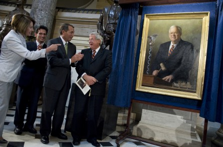From left, Pelosi, Rep. Eric Cantor, Boehner, and Hastert at Hastert's portrait unveiling in 2009. (CQ Roll Call File Photo)