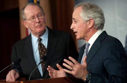 UNITED STATES - DECEMBER 28: Sen. Lamar Alexander, R-Tn., and Sen. Bob Corker, R-Tn., hold a press conference to talk about their alternatives to the Democrat's approach to solving the