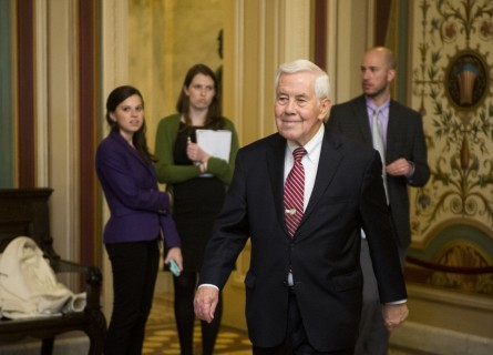 UNITED STATES - DECEMBER 19: Senate Foreign Relations ranking member Richard Lugar, R-Ind., arrives for the photo-op with actor Ben Affleck, who was on Capitol HIll to discuss the Democratic Republic of the Congo on Wednesday, Dec. 19, 2012. (Photo By Bill Clark/CQ Roll Call)