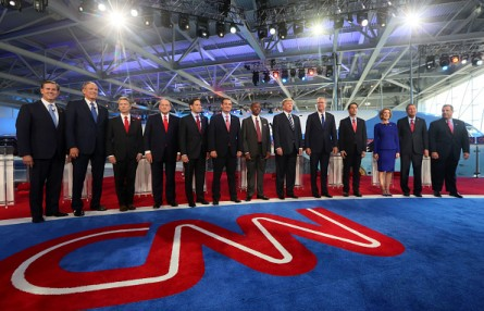 SIMI VALLEY, CA - SEPTEMBER 16:  Republican presidential candidates (L-R) Rick Santorum, George Pataki, U.S. Sen. Rand Paul (R-KY), Mike Huckabee, U.S. Sen. Marco Rubio (R-FL) , U.S. Sen. Ted Cruz (R-TX),  Ben Carson, Donald Trump, Jeb Bush, Wisconsin Gov. Scott Walker, Carly Fiorina, Ohio Gov. John Kasich and New Jersey Gov. Chris Christie stand onstage during the presidential debates at the Reagan Library on September 16, 2015 in Simi Valley, California. Fifteen Republican presidential candidates are participating in the second set of Republican presidential debates.  (Photo by Sandy Huffaker/Getty Images)