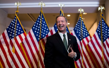 UNITED STATES - DECEMBER 1: Democratic Presidential candidate Martin O'Malley speaks to reporters as he leaves the House Democrats' caucus meeting in the Capitol Visitor Center on Tuesday, Dec. 1, 2015. (Photo By Bill Clark/CQ Roll Call)