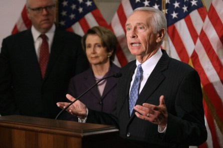 WASHINGTON, DC - DECEMBER 05:  Kentucky Governor Steve Beshear (R) talks to reporters after attending a caucus meeting with House Minority Leader Nancy Pelosi (D-CA)  (C), Rep. Joseph Crowley (D-NY) and other leaders in the Capitol Visitors Center December 5, 2013 in Washington, DC. While touting his state's healthcare reform success, Beshear told reporters that voters and politicans neet to be patient with the rollout of the Affordable Care Act and the Healthcare.gov website.  (Photo by Chip Somodevilla/Getty Images)