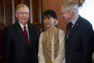 McConnell and Senate Majority Leader Harry Reid, D-Nv., met Daw Aung San Suu Kyi (C), Chair of the National League for Democracy and Member of Parliament from Kawhmu Constituency in Burma. Kyi received a Congressional Gold Medal for her efforts to bring democracy to Burma. (Photo By Chris Maddaloni/CQ Roll Call)