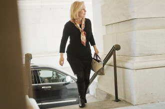 Sen. Kirsten Gillibrand, D-N.Y., arrives for votes Saturday. (Tom Williams/CQ Roll Call)