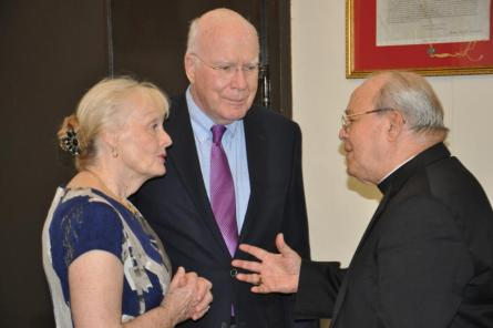 Leahy, center, and his wife Marcelle meet with Cardinal Ortega. (Courtesy of Leahy's Senate office)
