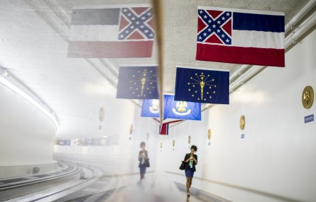 The Mississippi state flag, which includes the Confederate battle flag as part of its design, hangs in the U.S. Capitol along the Senate subway. The state's two senators called for changing the flag design Wednesday. (Bill Clark/CQ Roll Call)
