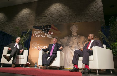 Gowdy, Huckabee and Scott share the stage for the first of Scott's presidential candidate town halls. (Al Drago/CQ Roll Call)