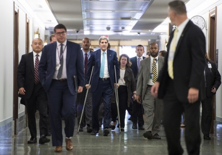 Secretary of State John Kerry heads to the Senate Foreign Relations Committee hearing on the Iran Nuclear Agreement on Thursday, July 23, 2015. (Bill Clark/CQ Roll Call)