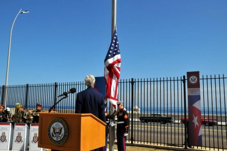 Leahy had this vantage point as the American flag was raised over the embassy in Havana. (Courtesy Sen. Leahy)