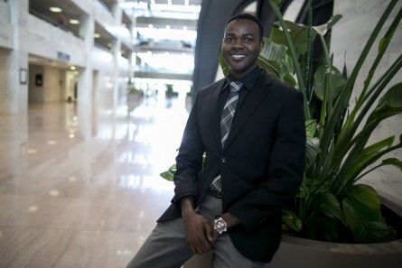 UNITED STATES - August 11: Mohy Omer, a Sudanese intern for the office of Sen. Heidi Heitkamp, D-S.D., poses for a portrait in the Hart Senate Office Building on Capitol Hill, in Washington on Tuesday, August 11, 2015. Omer relocated to Fargo, S.D. in 2009 after growing up in Sudan. (Photo By Al Drago/CQ Roll Call)