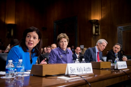 From left, Ayotte, Shaheen, Portman and Gov. Peter Shumlin, testify at a Judiciary hearing. (Bill Clark/CQ Roll Call)