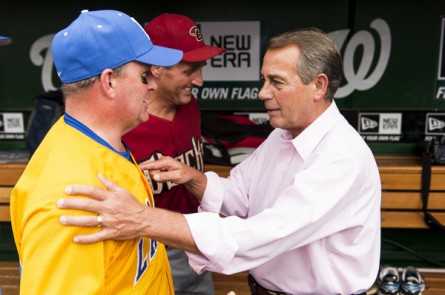Boehner, right, looked to buck up the GOP troops. (Bill Clark/CQ Roll Call.)