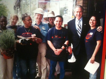 Photo of a photo at the George W. Bush Presidential Center in Dallas. (Jason Dick/CQ Roll Call.)