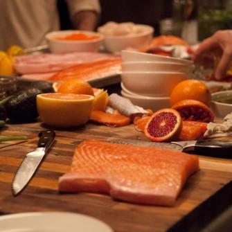 Premium Scottish salmon awaiting further dissection. (Max Theony/Upstream Foods LLC)
