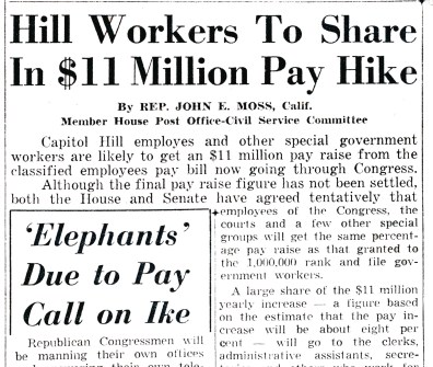 A staff-focused headline from a 1955 Roll Call front page. (Photo courtesy Meredith Dake-O'Conner)