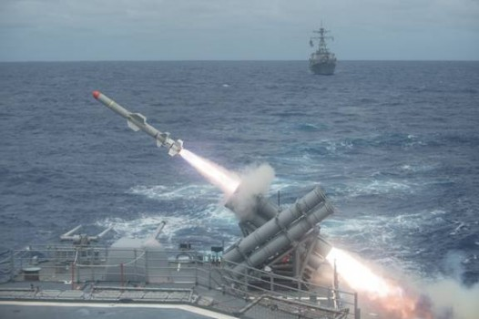 A Harpoon missile is launched from the Ticonderoga-class cruiser USS Shiloh during a live-fire exercise in 2014. (U.S. Navy photo by Mass Communication Specialist 3rd Class Kevin V. Cunningham/Released)