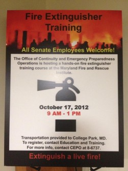 Senate fire extinguisher training announce