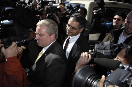Bob Ney (R-OH) tries to get through the sea of photographers as he leaves the U.S. District Court October 13, 2006 in Washington, DC. Ney entered a guilty plea to taking bribes in the Jack Abramoff lobbying scandal. (CQ Roll Call File Photo)