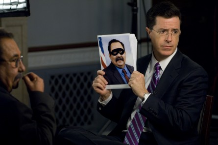 Stephen Colbert, right, at a taping years back of