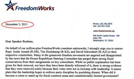 FreedomWorks is trying to turn back time. In a letter.