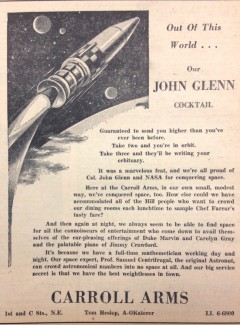An ad from Col. Glenn's visit, promising a cocktail that was out of this world.