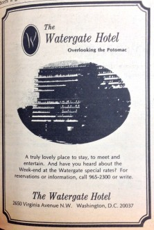 Advertisement for the Watergate Hotel a few years later.