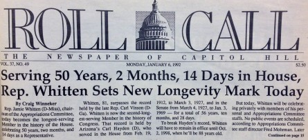 The front page from the day that Rep. Whitten broke the record for longest time in office.