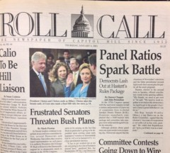 Hillary Rodham Clinton made Roll Call's front page being sworn into the senate in a bright blue suit in 2001.