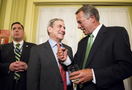 UNITED STATES - FEBRUARY 3: Speaker of the House John Boehner, R-Ohio, chats with Rep. John Yarmuth, D-Ky., during the Bourbon Barrel of Compromise reception at the Willard Hotel in Washington on Tuesday, Feb. 3, 2015. The Henry Clay Center for Statesmanship and the Kentucky Distillers Association joined forces to send a barrel of Kentucky Bourbon to Washington D. C. to be received by Majority Leader Mitch McConnell. (Photo By Bill Clark/CQ Roll Call)