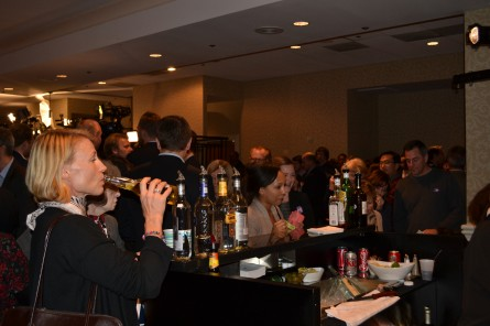 Partygoers vied to drain dry the cash bar at Sen. Mark Warner's 2014 re-election party. (Warren Rojas/CQ Roll Call)