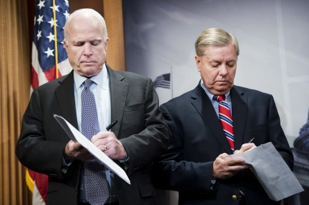 McCain and Graham are in synch with their presidential debate jokes. (Photo By Tom Williams/CQ Roll Call File Photo)