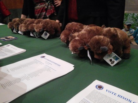 Plush collectibles, ripe for the plucking at the National Bison Day reception on Capitol Hill. (Warren Rojas/CQ Roll Call)