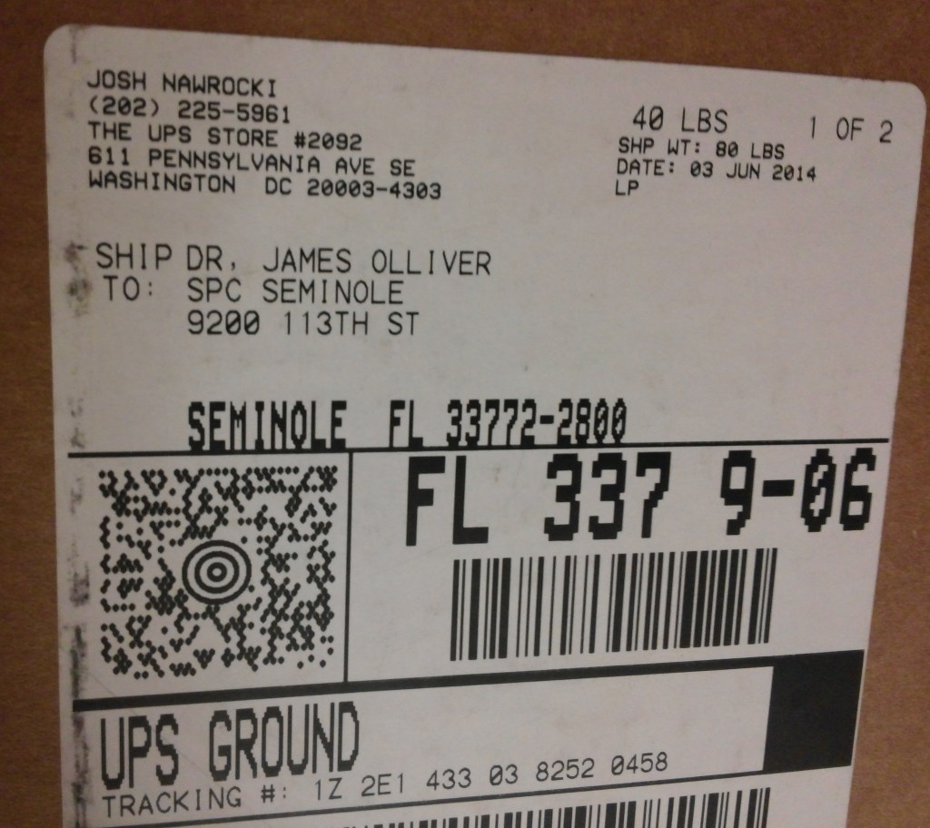 Shipping label confirming that Josh Nawrocki, then-staff assistant to Rep. David Jolly, R-Fla., sent the elusive pictures of late Rep. C.W. Bill Young, R-Fla., back to St. Petersburg College in June 2014. (Warren Rojas/CQ Roll Call)