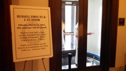 A whistleblower spotted a painter giving a closed entryway in the Russell Senate Office Building a fresh coat of paint.