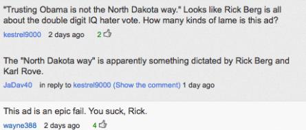 """Slamming Berg's """"North Dakota Way"""" line"""