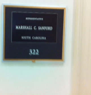 The nameplate for the newest member of the House forgoes the use of