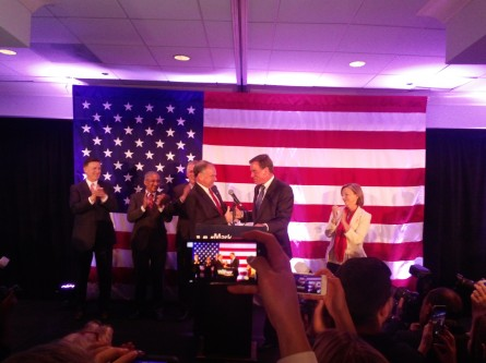 Sen. Tim Kaine introduces his legislative partner and longstanding pal at Mark Warner's 2014 re-election party. (Warren Rojas/CQ Roll Call)