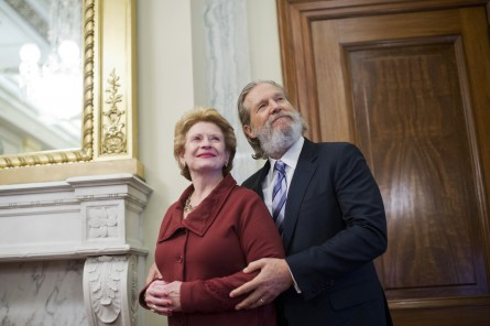 Bridges posed with Stabenow on Wednesday. (Tom WiIliams/CQ Roll Call)