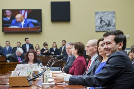 UNITED STATES - FEBRUARY 04: Martin Shkreli, right, former CEO of Turing Pharmaceuticals, invoked his Fifth Amendment right against self-incrimination during a House Oversight and Government Reform Committee in Rayburn Building on