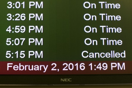 UNITED STATES - FEB 2. - The departure screen shows a cancelled flight the day after the Iowa caucus at the Des Moines International Airport, on Tuesday, Feb. 2, 2016 in Des Moines, Iowa. Several flights were cancelled departing from Des Moines after a snowstorm hit the area. (Photo By Al Drago/CQ Roll Call)