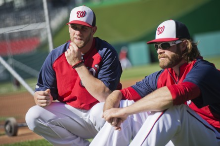 Washington Nationals' outfielder Bryce Harper, left, has quickly become the most popular Nevadan in Washington, D.C. (Tom Williams/CQ Roll Call.)