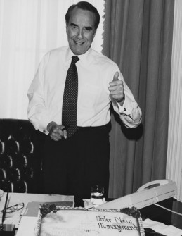 Dole gives a thumbs up to a new Republican majority in 1994. (Dole Institute)