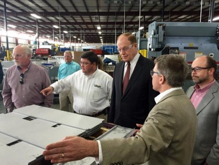 Shelby visited businesses elsewhere in Alabama Saturday, including Innovative Hearth Products. (Sen. Shelby's Office via Twitter)