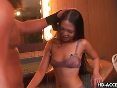 Slender Asian hottie gets her face roughly fucked Amateur asian ball licking